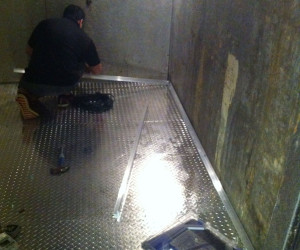 diamond plated flooring installed